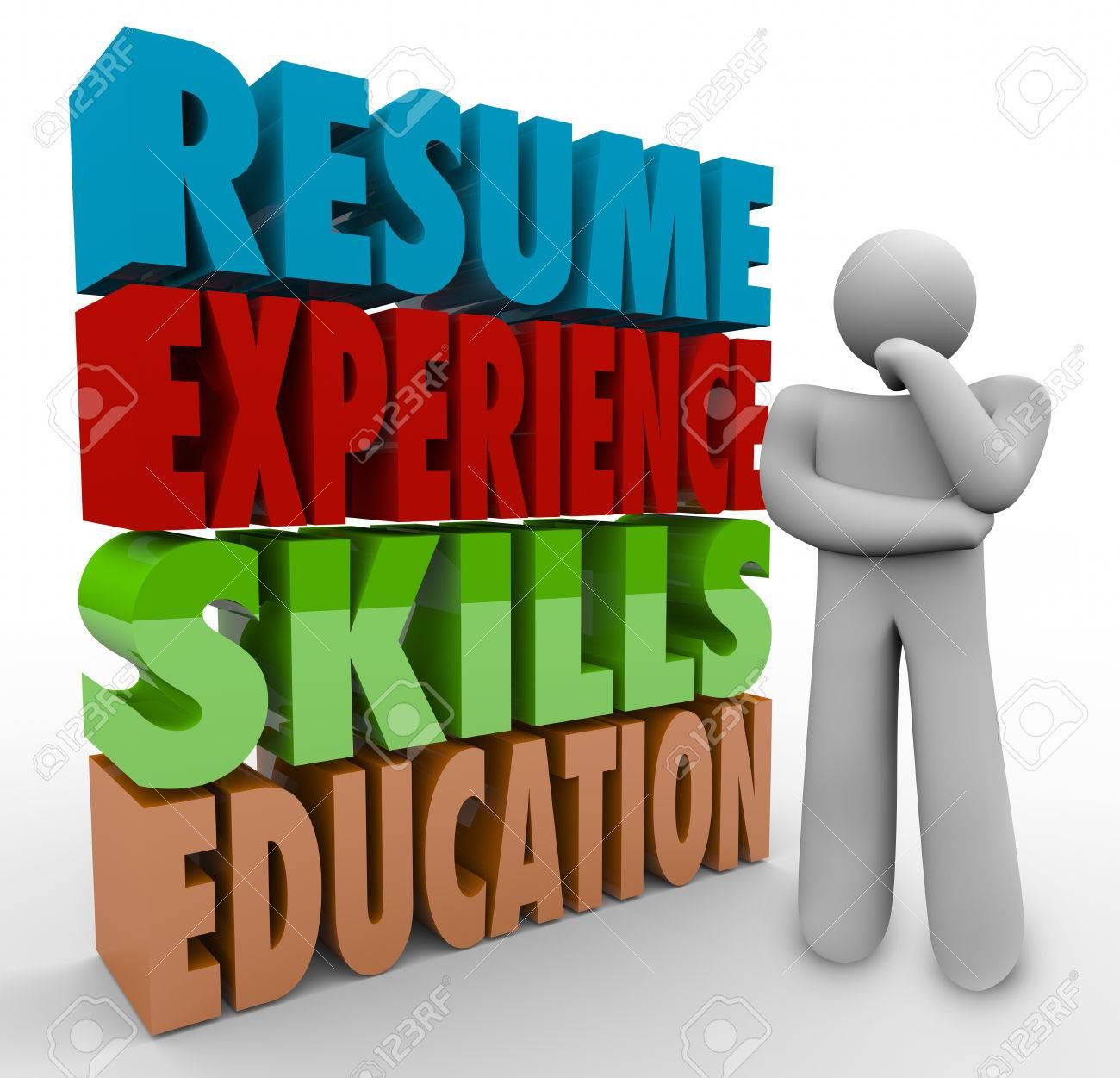 Reanudar, Experiencia, Habilidades Y Educación Palabras 3d Por Un ...