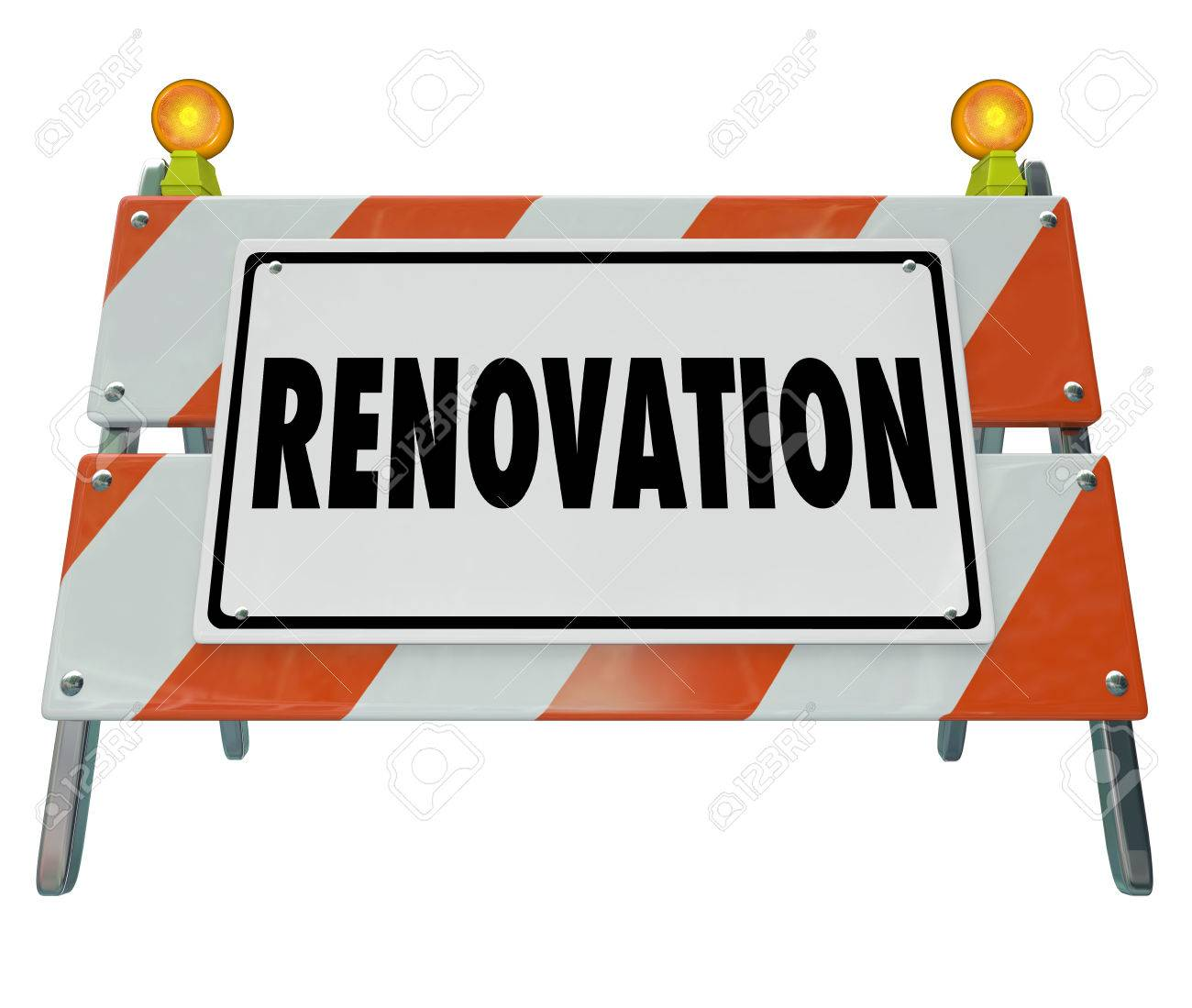 renovate word on a road construction or home improvement sign or barrier to warn of building