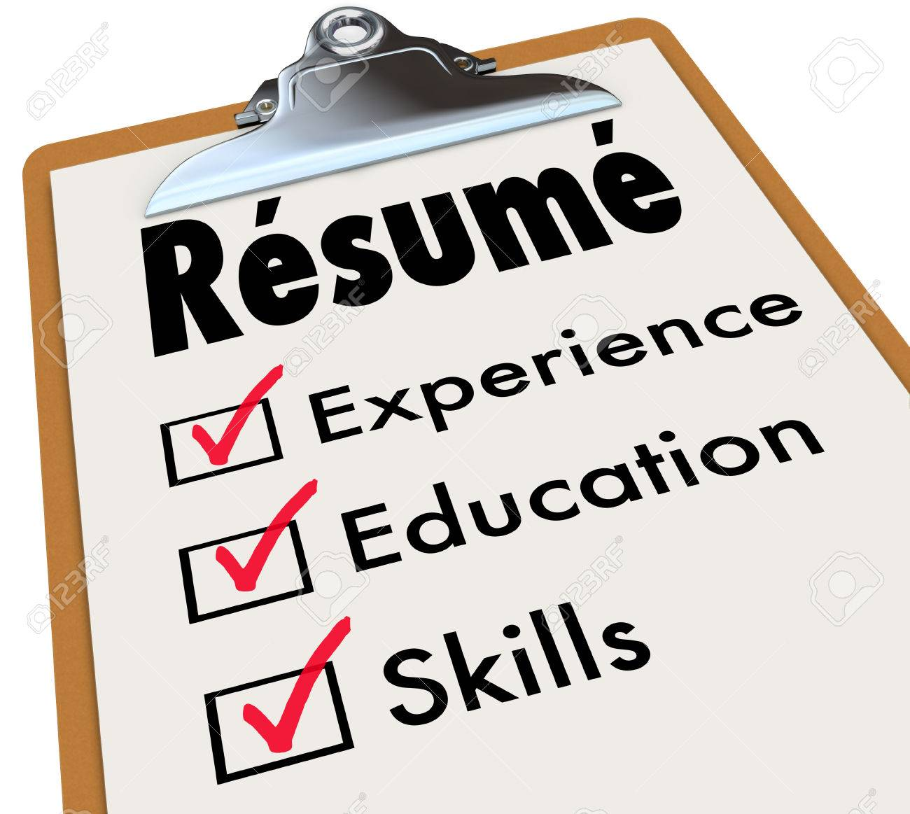 Resume Word On A Clipboard Checklist Of Qualifications Or Criteria ...