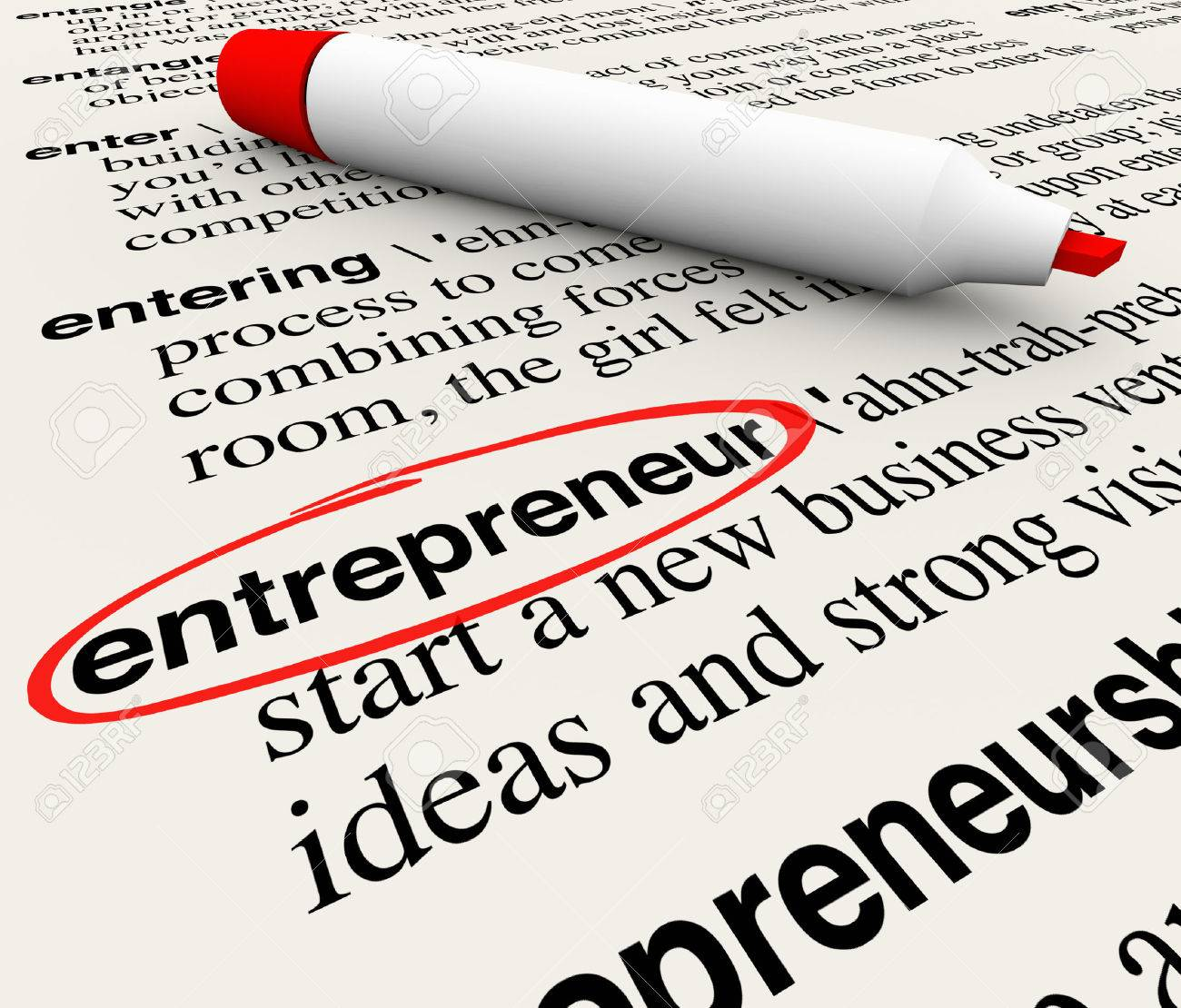 entrepreneur word circled with dictionary definition to illustrate