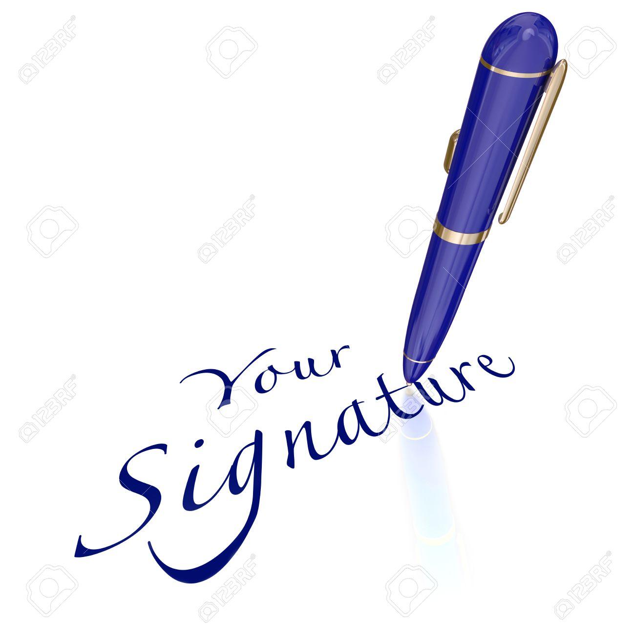 Ihre Unterschrift Wörter Und Stift Unterzeichnung Namen Oder
