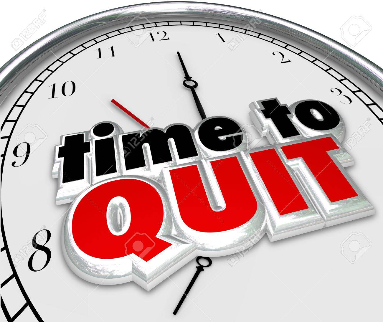 time to quit clock for end or stop of career job or work as stock photo time to quit clock for end or stop of career job or work as a finish of a project or endeavor