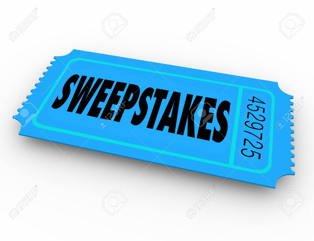 stock photo sweepstakes word on winning lottery raffle or contest ticket to get a big jackpot of money or other prizes