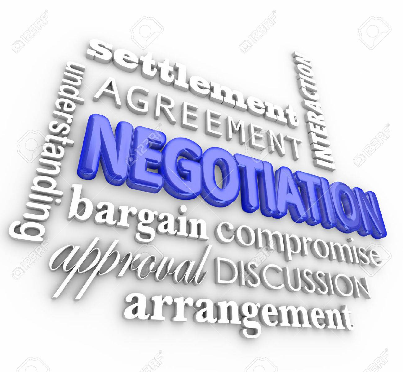 Negotiation word collage in 3d letters with terms like settlement negotiation word collage in 3d letters with terms like settlement agreement interaction understanding platinumwayz