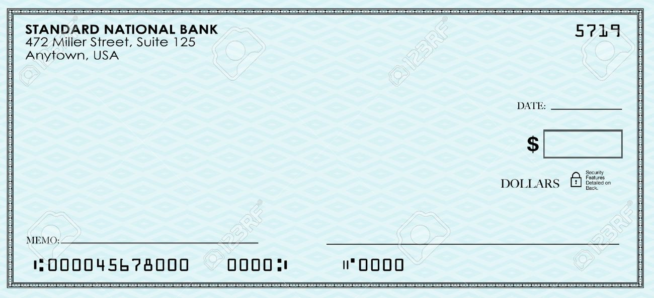 blank check for you to send money from your bank or savings account stock photo