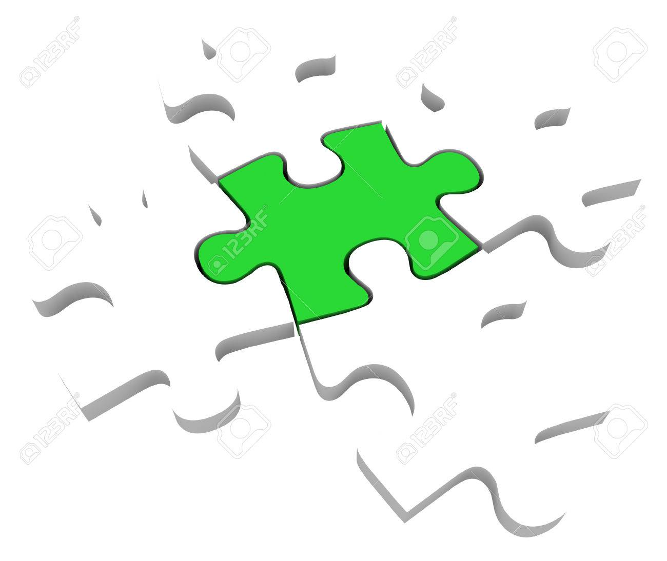 One Unique Green Puzzle Piece Among 5 Pieces To Illustrate Being Different Special