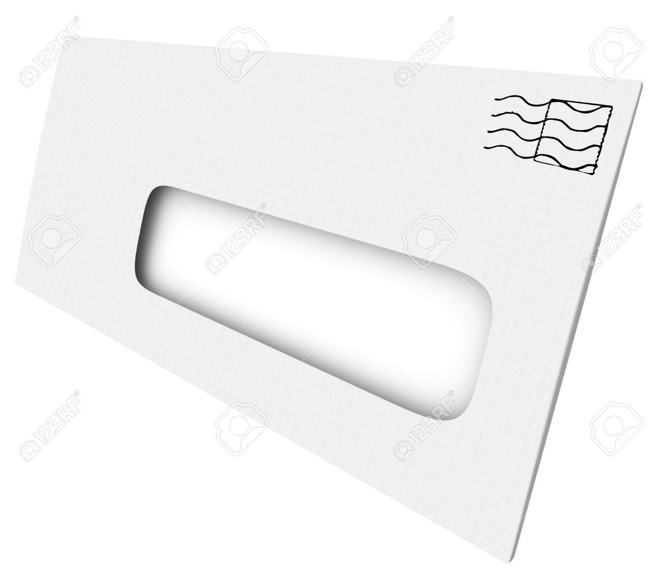 white mailing envelope with blank copy space in an opening or