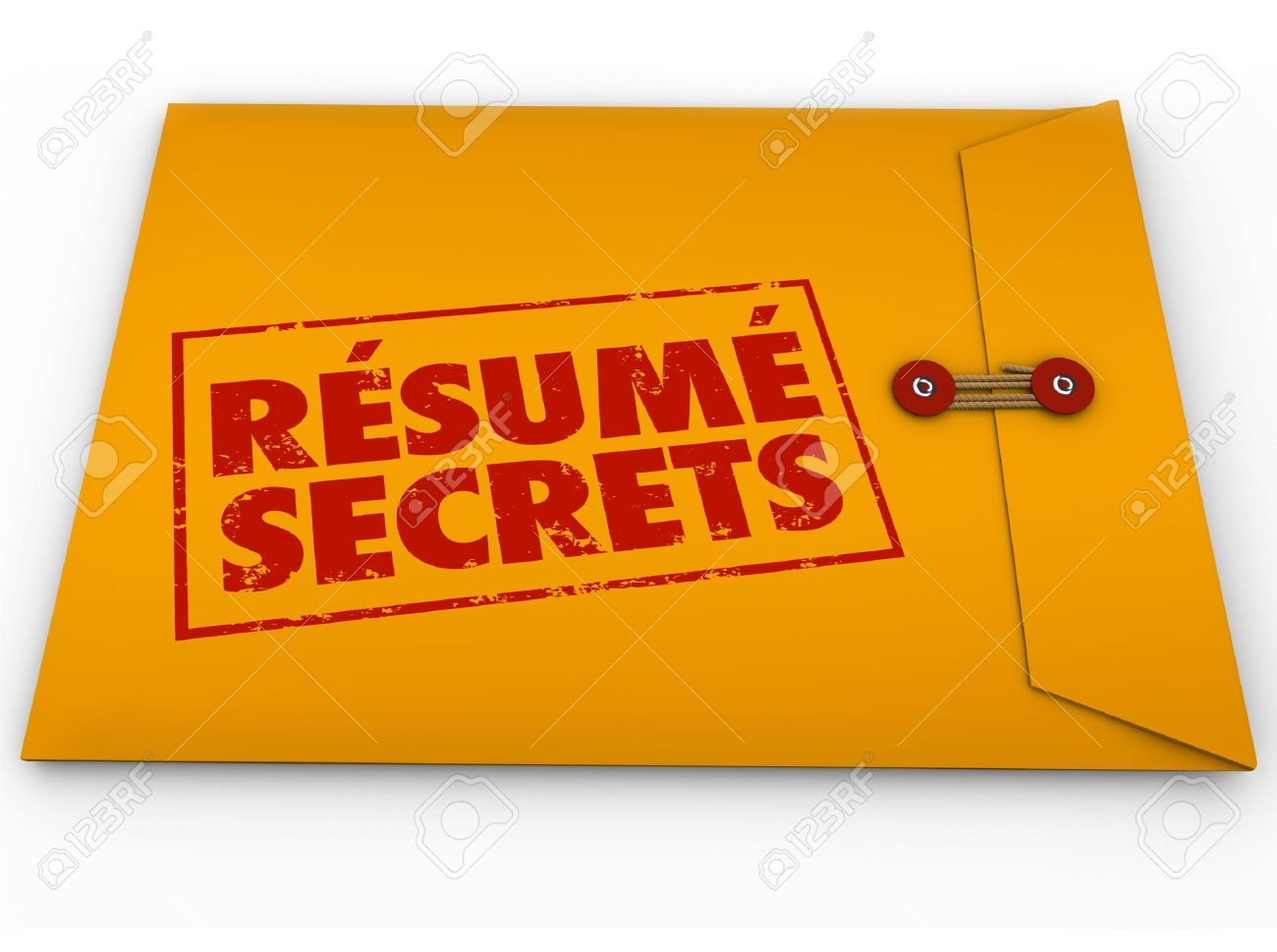 resume secrets words stamped on yellow envelope to illustrate