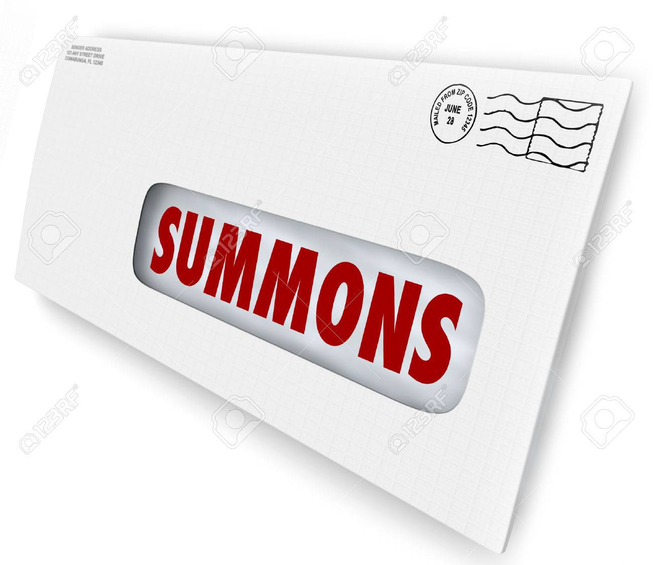 Summons Word On An Envelope Or Letter Being Served To Offficially Notify  You Of An Obligation