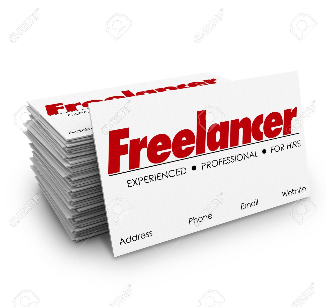 freelancer independent contractor for hire business card stack or pile stock photo 46722293
