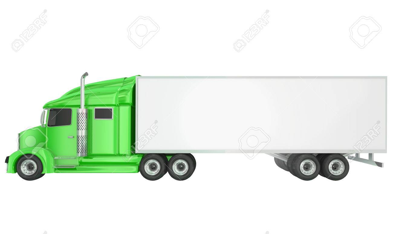 Green Cab On Isolated 18 Wheeler Big Rig Class 8 Truck With Blank
