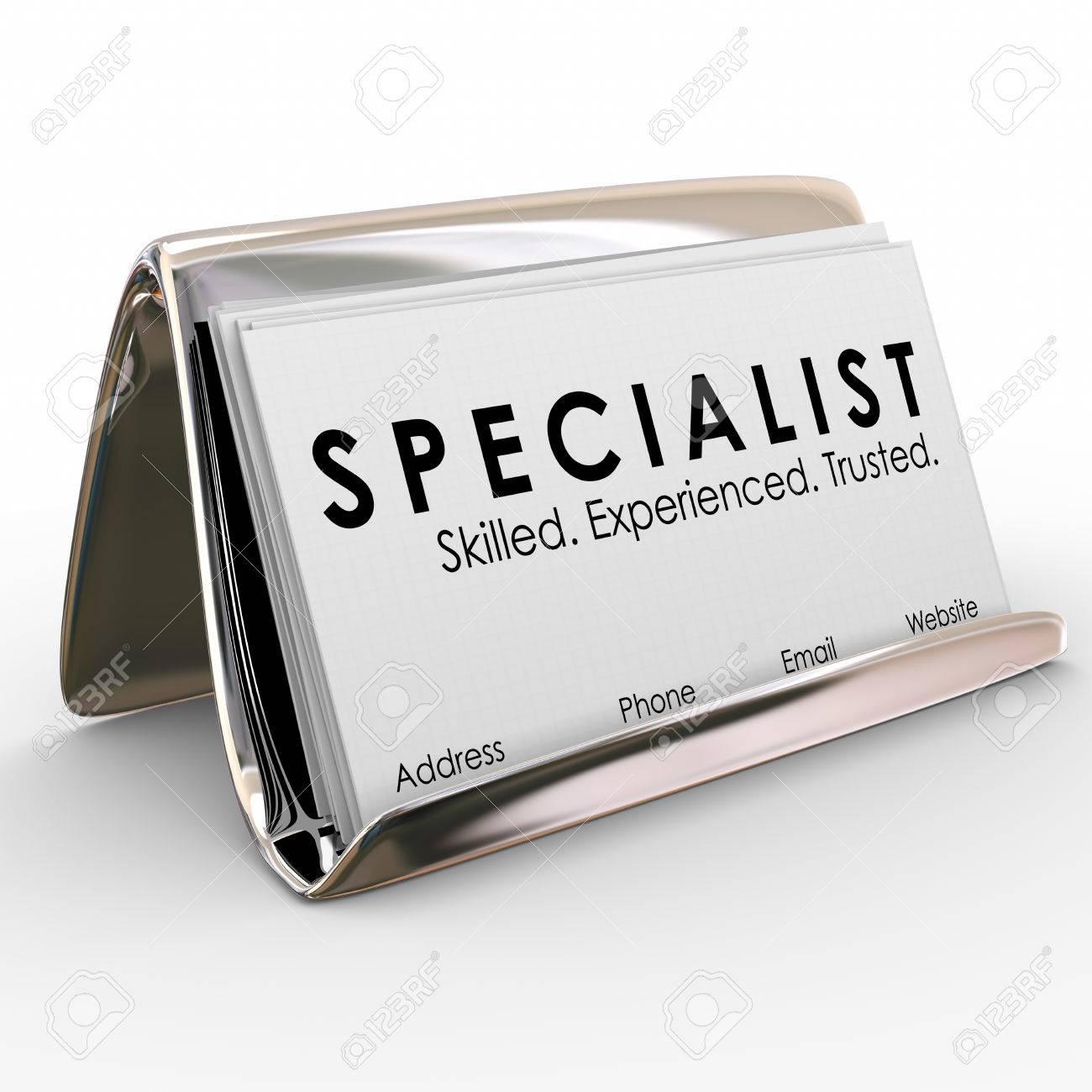 Mot De Specialistes Sur Une Carte Visite Pour Un Consultant