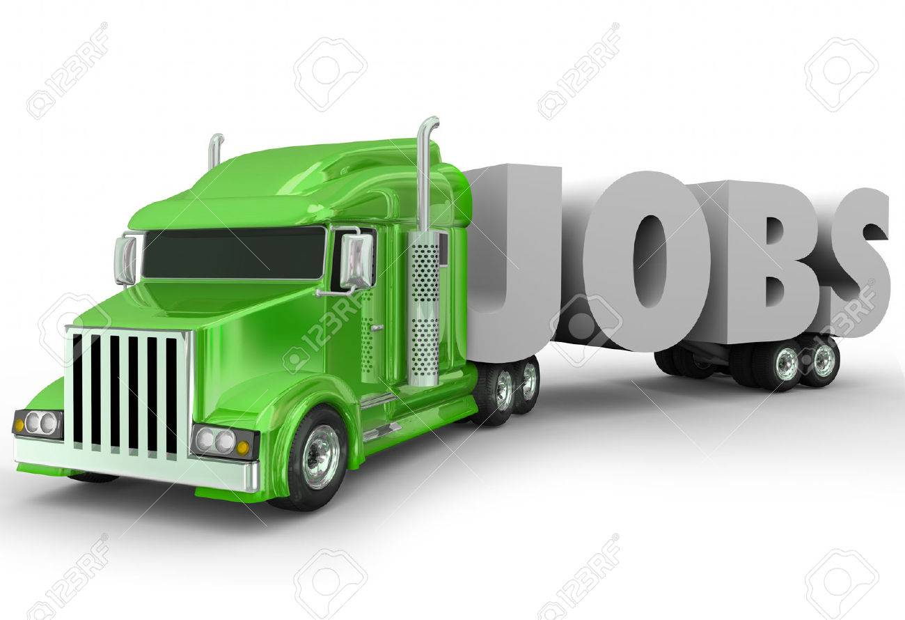 jobs 3d word hauled by a truck cab on a trailer to illustrate jobs 3d word hauled by a truck cab on a trailer to illustrate a new career