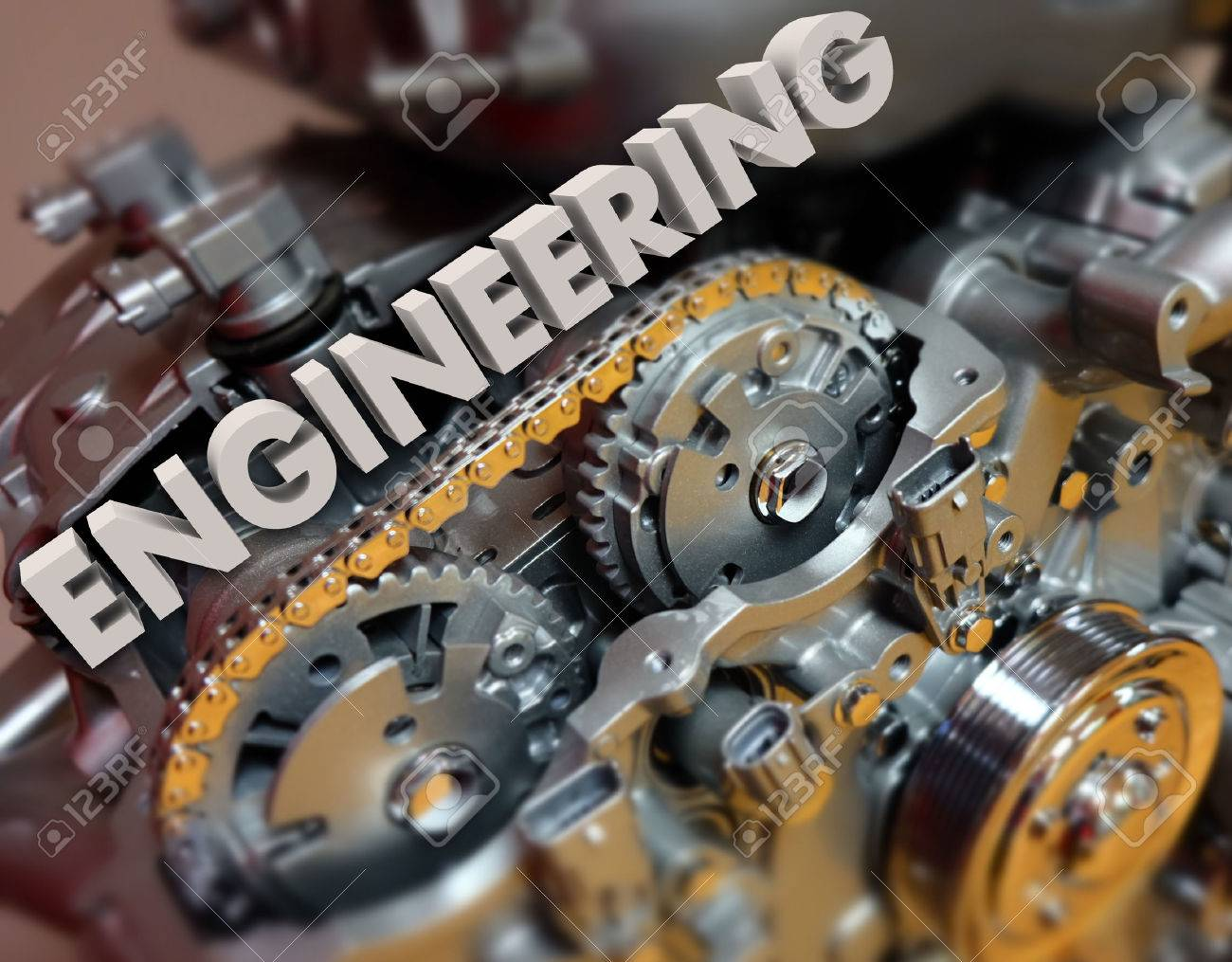 Engineering Word In 3d White Letters On A Car, Automobile Or.. Stock ...