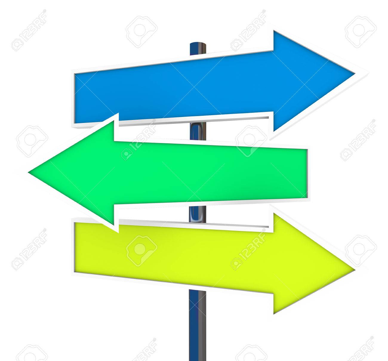 three arrow signs representing multiple opportunities directions