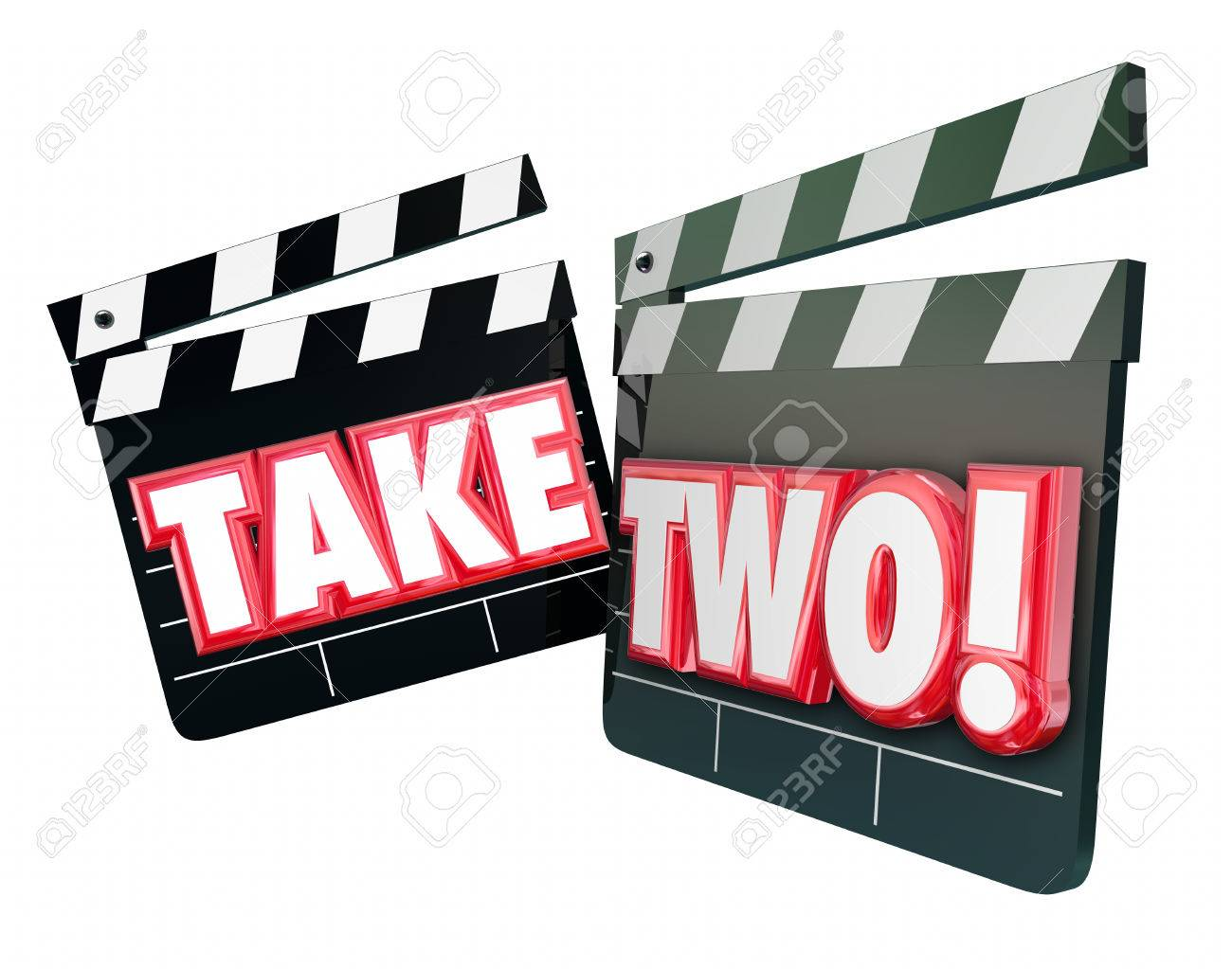 Take Two 2 words on movie or film clapper boards to illustrate