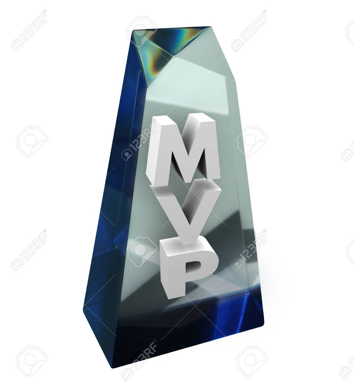 Most Valuable Player MVP Word Or Acronym In A Clear Award Trophy Recognizing The Contributions