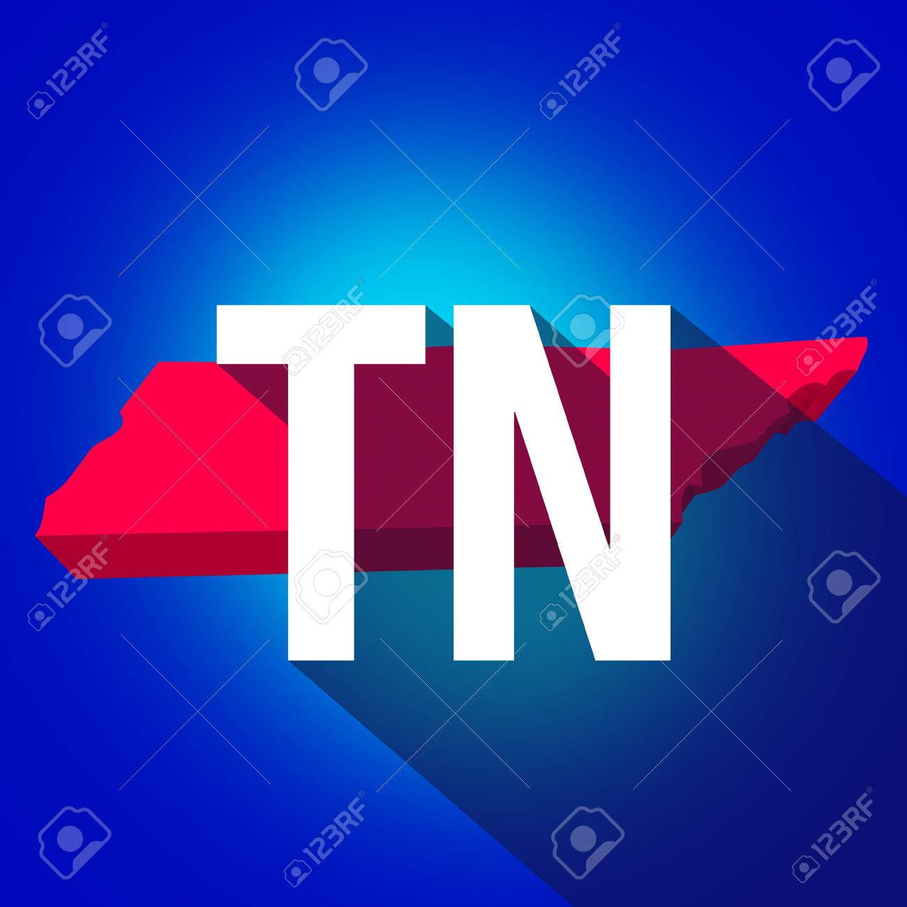 Tennessee Tn Letters On A 3d Map Of The State As Part Of The Usa United