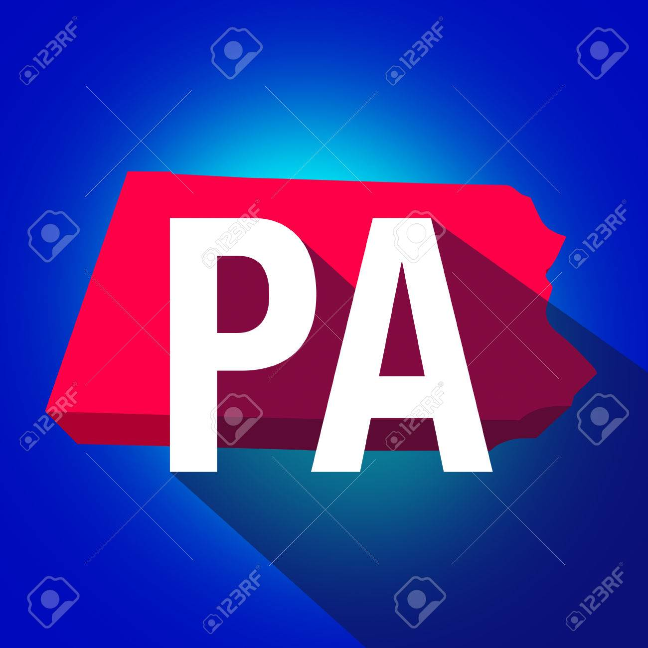 Pennsylvania Pa Letters On A 3d Map Of The State As Part Of The Usa United