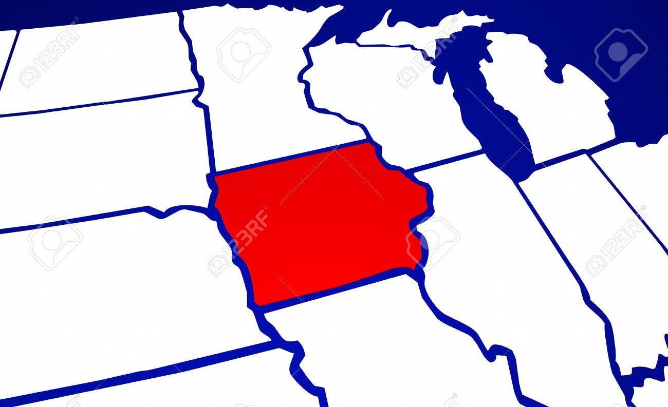 Iowa Ia State United States Of America 3d Animated State Map Stock