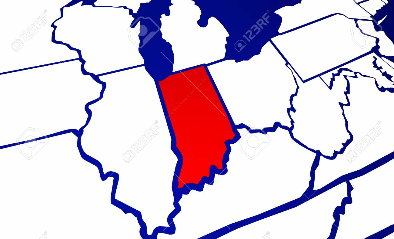 Indiana IN State United States of America 3d Animated State Map
