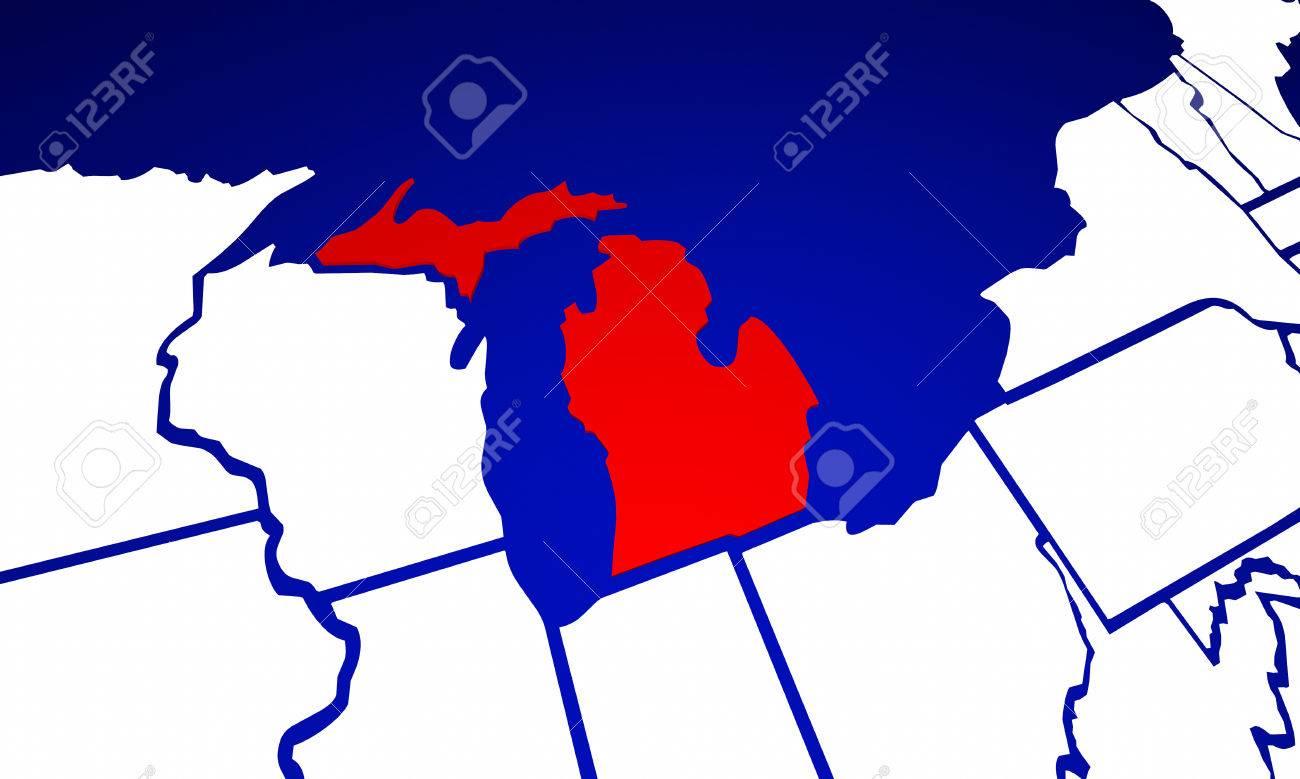 Michigan MI De Estado De Los Estados Unidos De América Estado De - Mapa de michigan