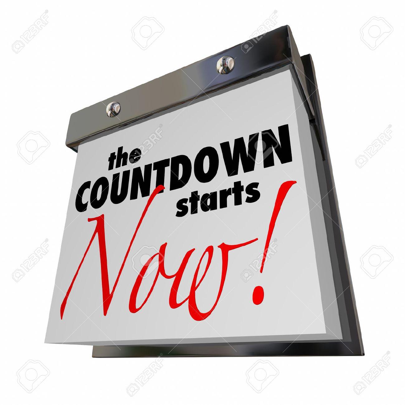 Calendario Countdown.Countdown Starts Now Calendar Day Date Final Words