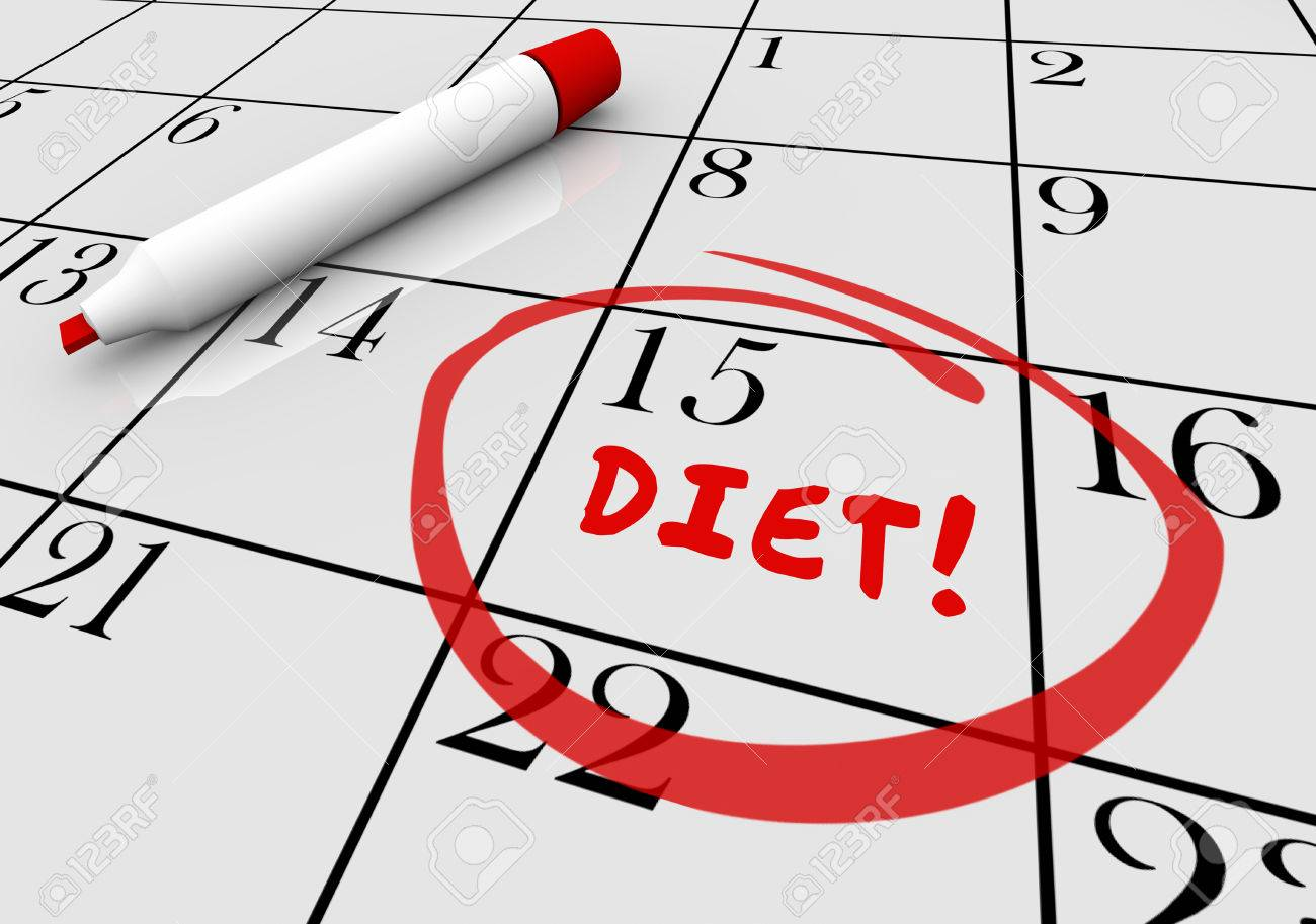 diet start begin eat healthy lose weight calendar 3d illustration