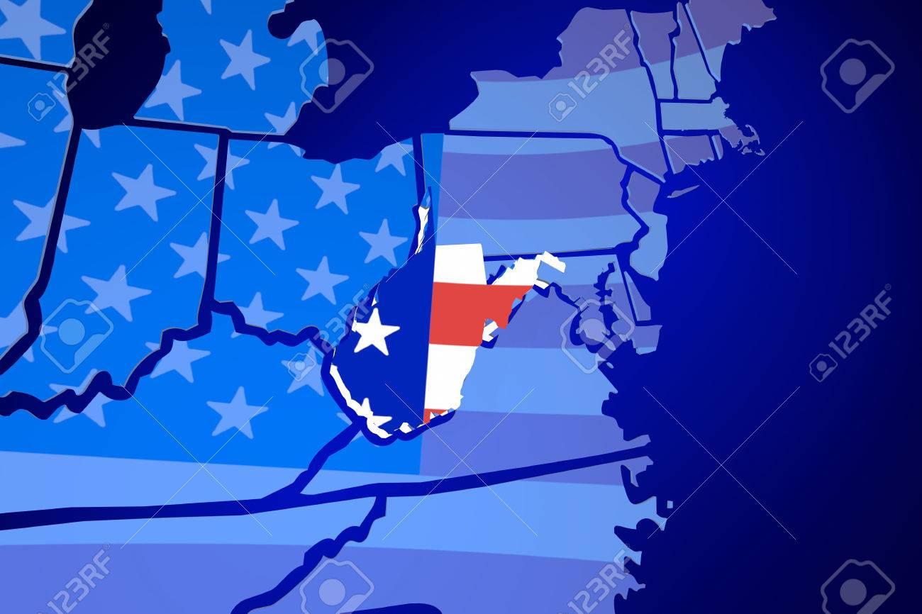 West Virginia USA United States America Flag Map 3d Illustration
