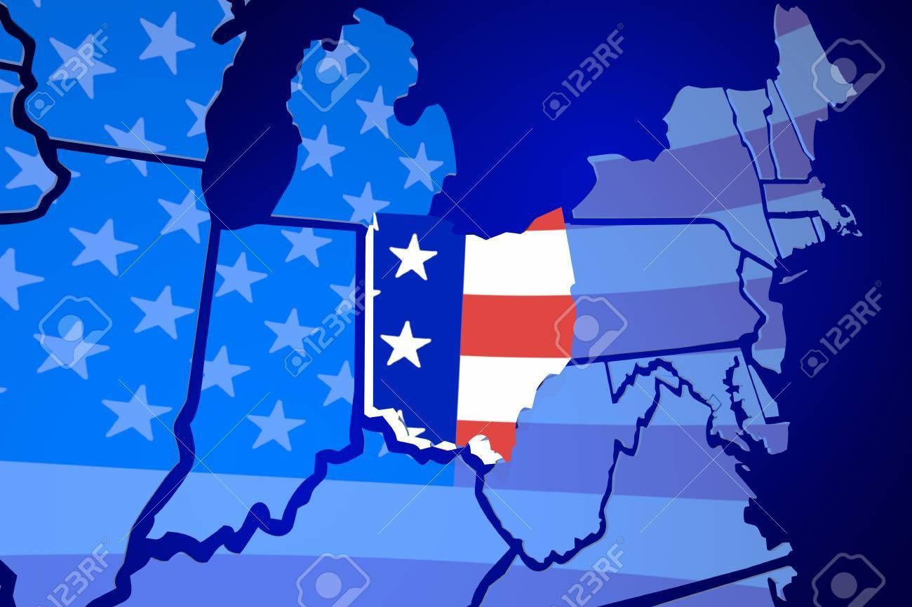 Ohio United States Map.Ohio State Map Usa United States America Flag 3d Illustration Stock