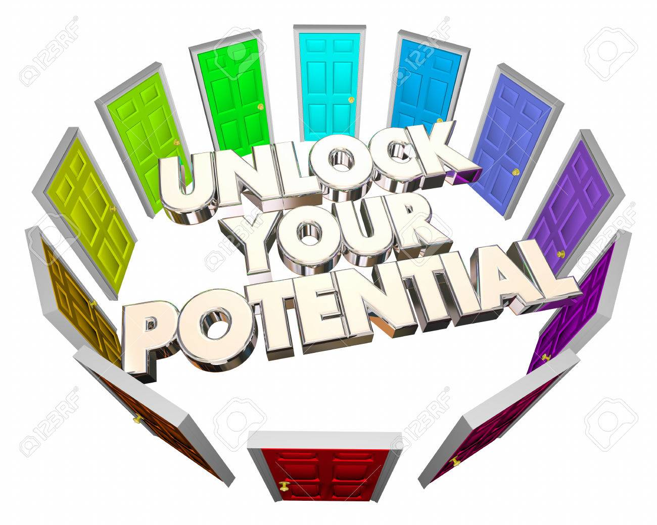 unlock your potential doors future skills abilities d illustration unlock your potential doors future skills abilities 3d illustration