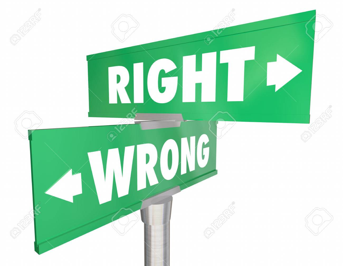 right vs wrong correct way route direction signs 3d illustration