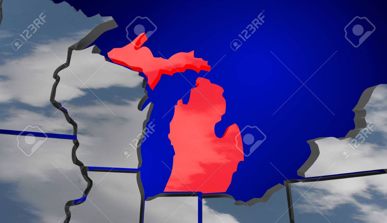 Michigan MI Map Clouds USA United States America Weather Forecast - Us map forecast
