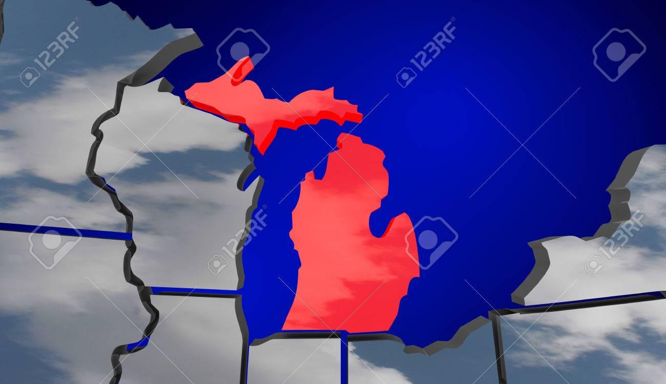 Michigan MI Map Clouds USA United States America Weather Forecast - Map of united states weather forecast