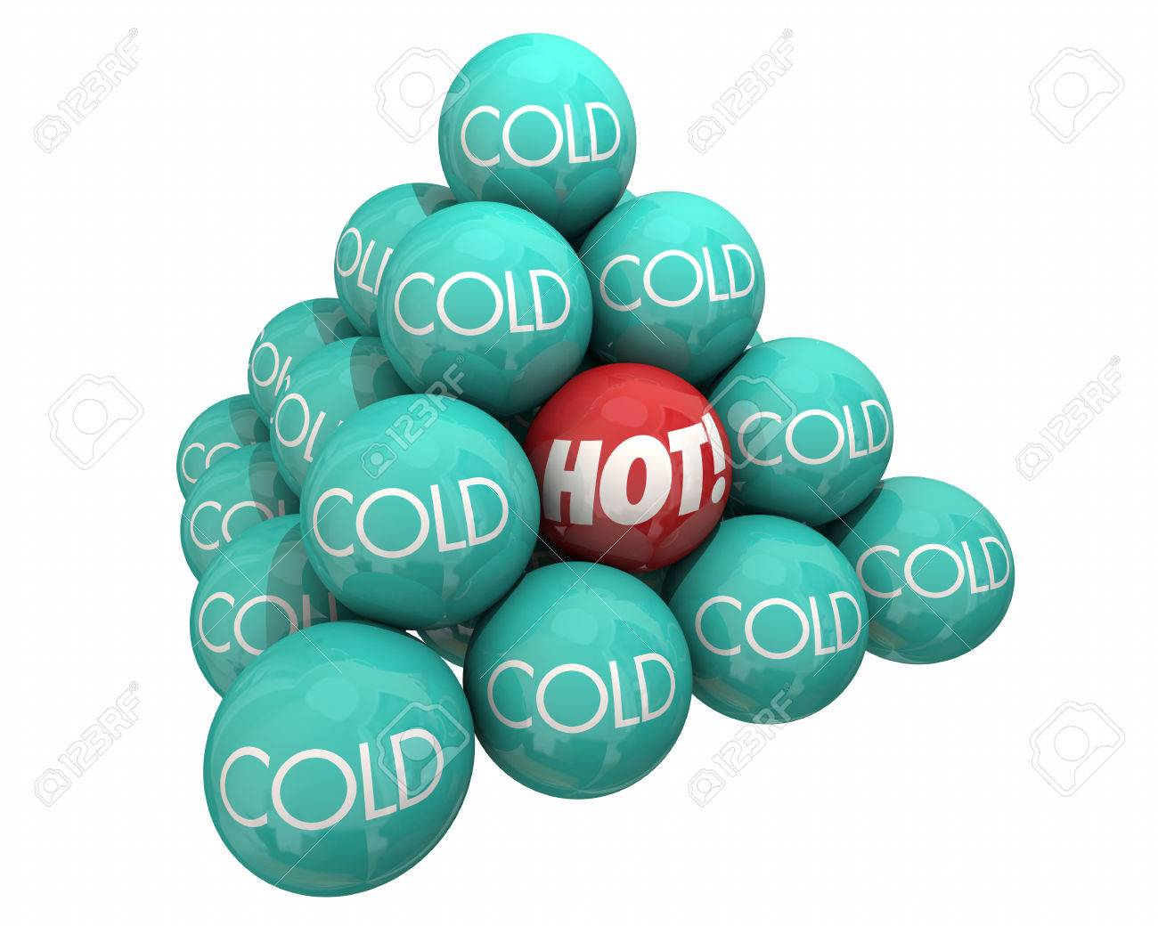 Heat Cool Hot Vs Cold Balls Pyramid Heat Cool Temperature 3d Illustration