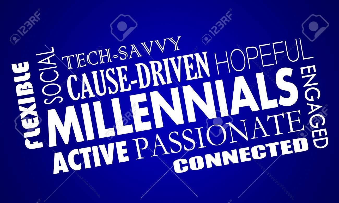 millennials generation y qualities characteristics word collage illustration millennials generation y qualities characteristics word collage 3d illustration