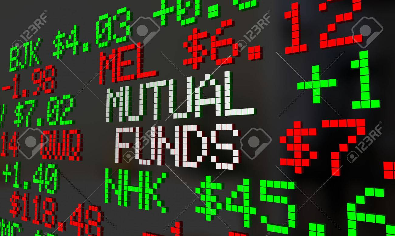 Mutual Funds Stock Tickers Scrolling Investment Options 3d