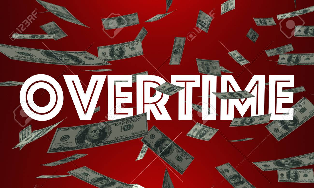 overtime money pay earn extra cash word 3d illustration stock photo