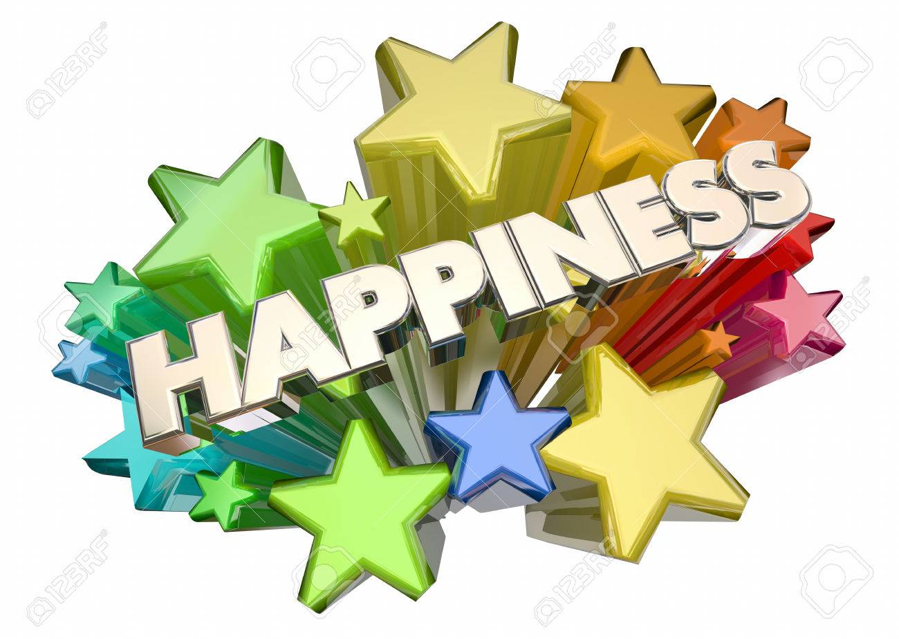 Happiness Joy Emotion Glad Happy Word Stars 3d Illustration Stock