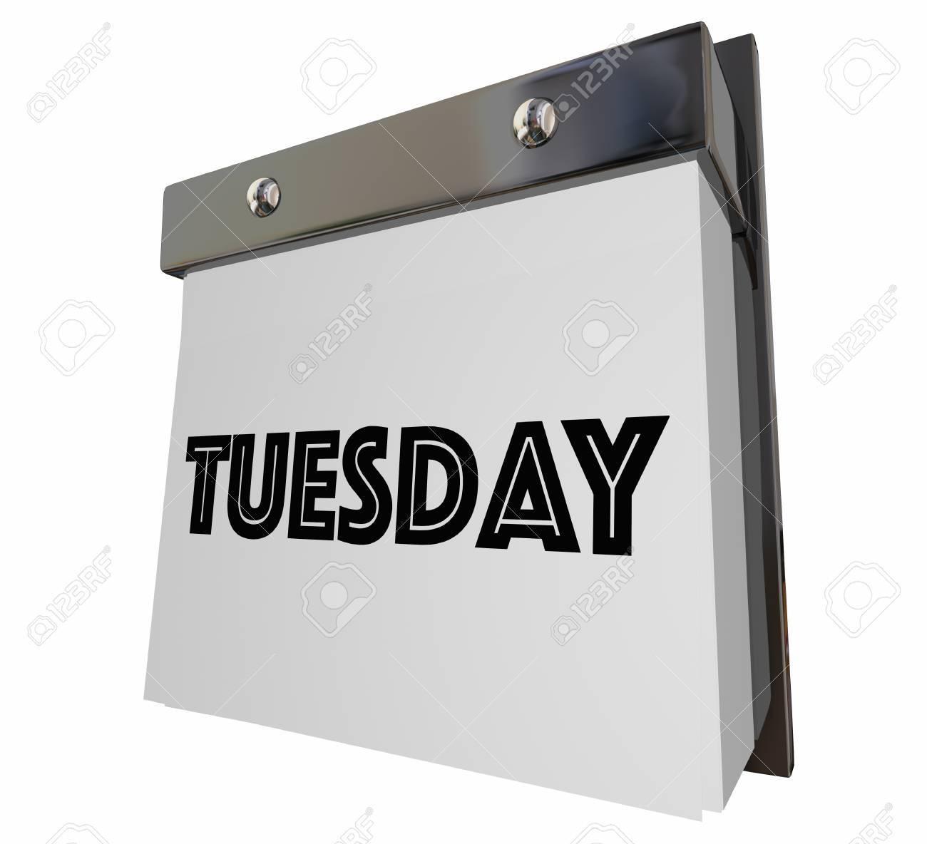 Calendario Giorno.Martedi La Pagina Del Calendario Word Giorno Illustrazione 3d