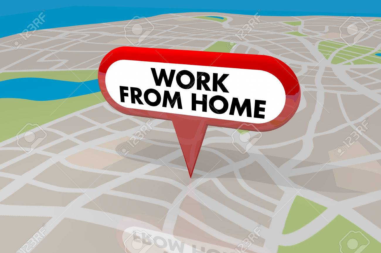 Work From Home Employee Trend Map Pin Words 3d Illustration Stock Photo,  Picture And Royalty Free Image. Image 71678695.