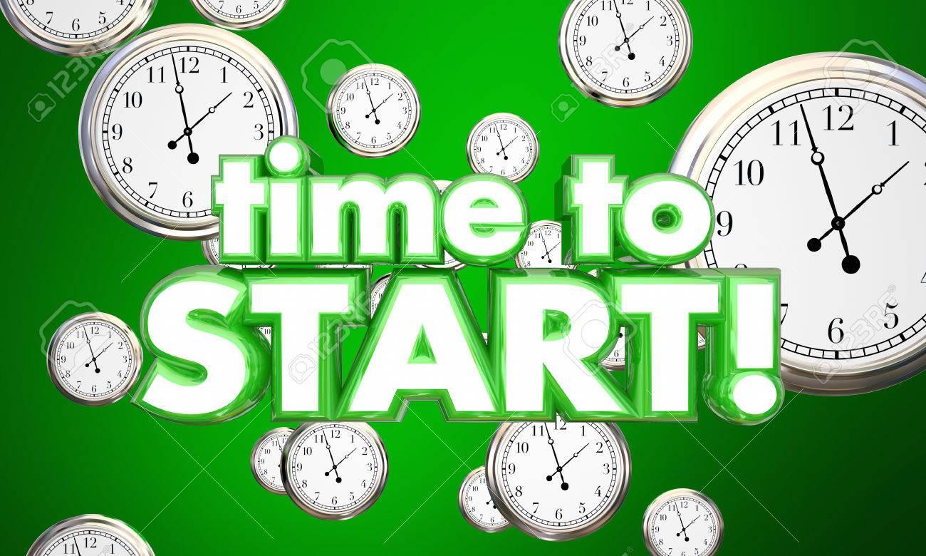 Time to Start Clocks Begin Now Reminder 3d Illustration - 71910146