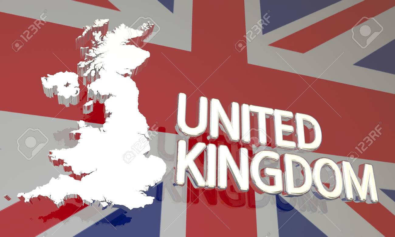 United Kingdom Uk England Great Britain Map Europe 3d Illustration