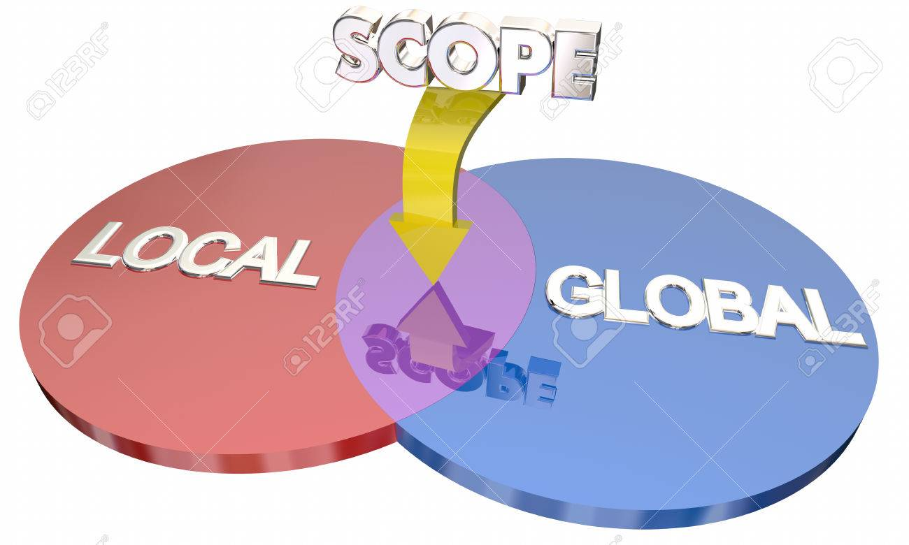 Global local scope project action venn diagram words 3d illustration banco de imagens global local scope project action venn diagram words 3d illustration ccuart Gallery