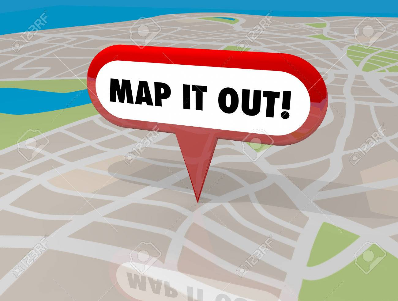 Map It Out Map It Out Pin Words Location Navigation 3d Illustration Stock