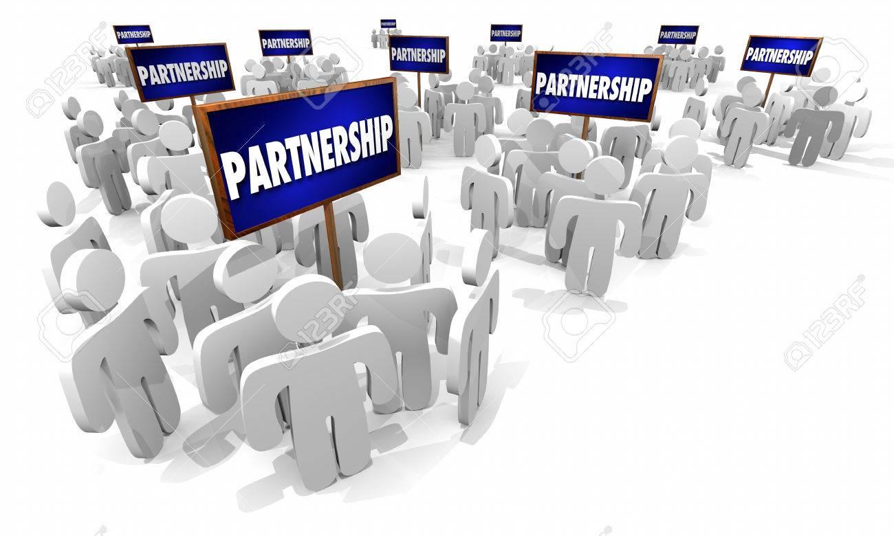 partnership groups people signs working together 3d illustration