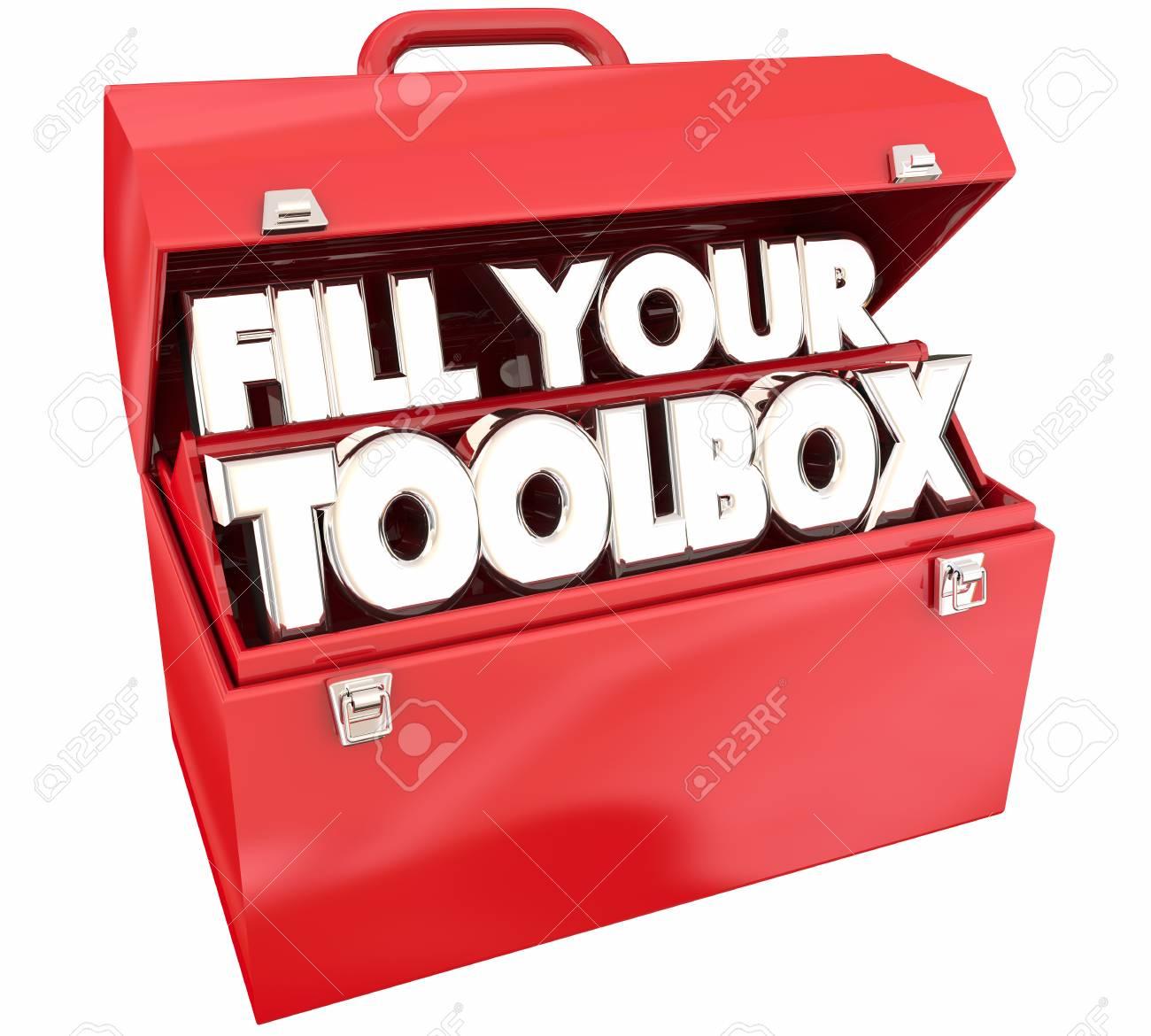 remplissez votre boîte à outils red metal tools words illustration