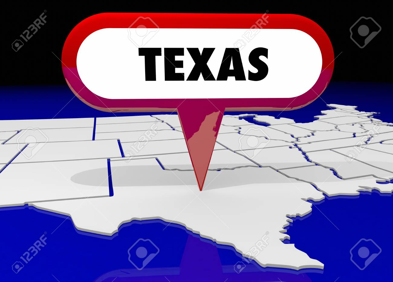 Texas Tx State Map Pin Location Destination 3d Illustration Stock