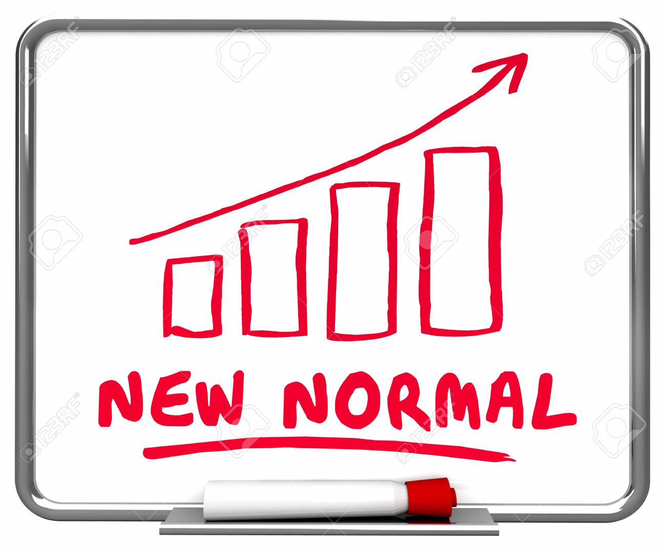 New Normal Reality Conditions Arrow Rising Trend 3d Illustration