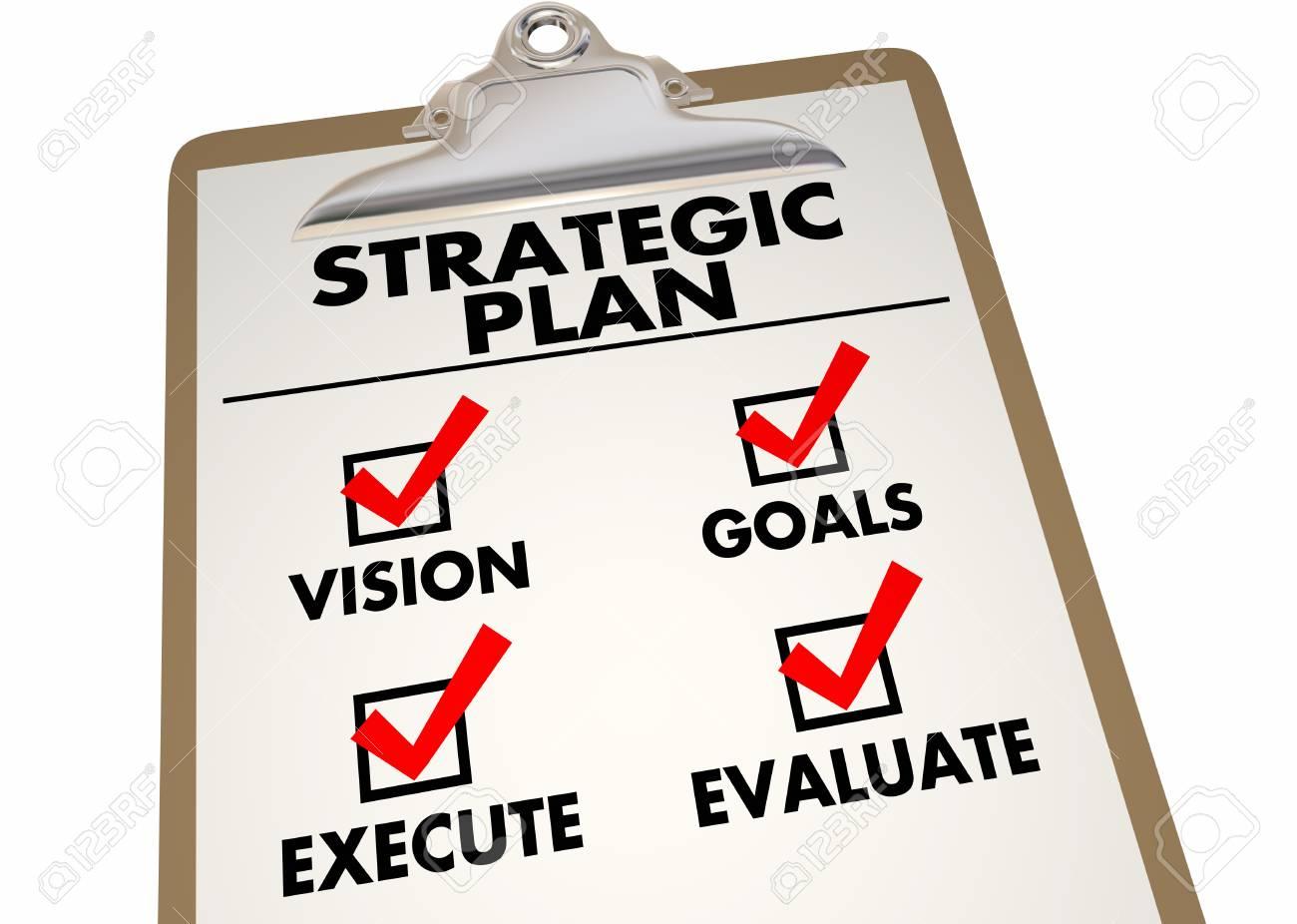 Strategic Plan Clipboard Checklist Action Items 3d Illustration - 87246274